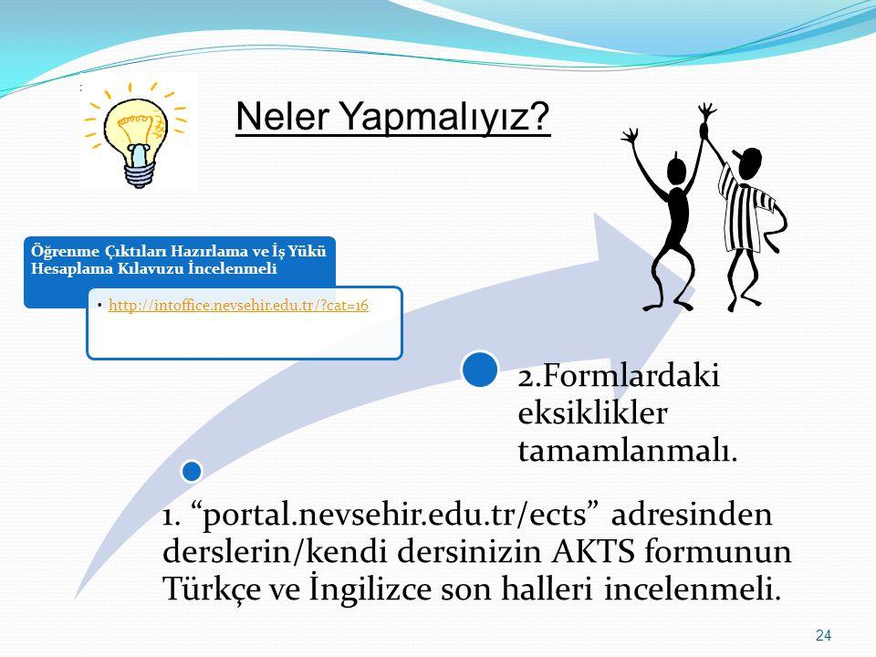 """1. """"portal.nevsehir.edu.tr/ects"""" adresinden derslerin/kendi dersinizin AKTS formunun Türkçe ve İngilizce son halleri incelenmeli. 2.Formlardaki eksikl"""