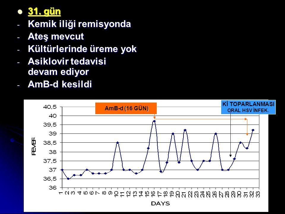 31. gün 31. gün - Kemik iliği remisyonda - Ateş mevcut - Kültürlerinde üreme yok - Asiklovir tedavisi devam ediyor - AmB-d kesildi Kİ TOPARLANMASI ORA