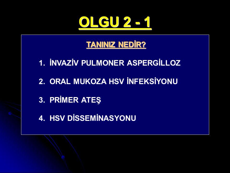 OLGU 2 - 1 TANINIZ NEDİR? 1. İNVAZİV PULMONER ASPERGİLLOZ 2. ORAL MUKOZA HSV İNFEKSİYONU 3. PRİMER ATEŞ 4. HSV DİSSEMİNASYONU