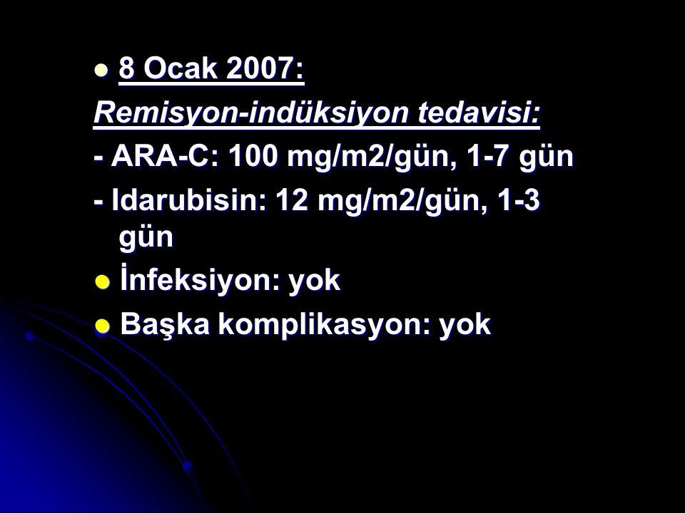 8 Ocak 2007: 8 Ocak 2007: Remisyon-indüksiyon tedavisi: - ARA-C: 100 mg/m2/gün, 1-7 gün - Idarubisin: 12 mg/m2/gün, 1-3 gün ● İnfeksiyon: yok ● Başka komplikasyon: yok