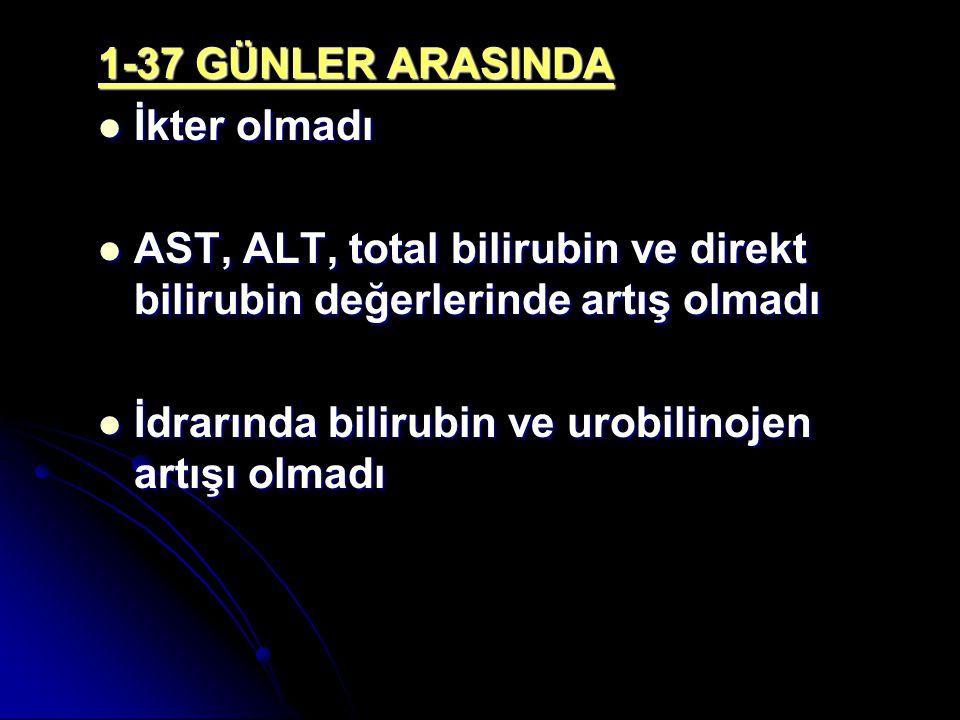 1-37 GÜNLER ARASINDA İkter olmadı İkter olmadı AST, ALT, total bilirubin ve direkt bilirubin değerlerinde artış olmadı AST, ALT, total bilirubin ve di