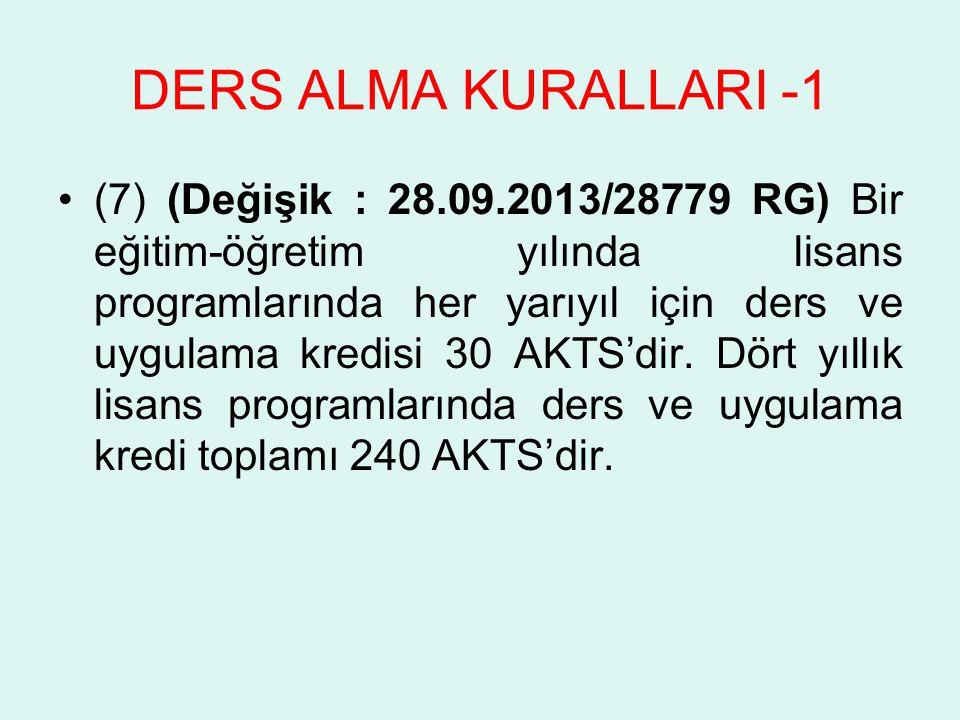DERS ALMA KURALLARI -1 (7) (Değişik : 28.09.2013/28779 RG) Bir eğitim-öğretim yılında lisans programlarında her yarıyıl için ders ve uygulama kredisi