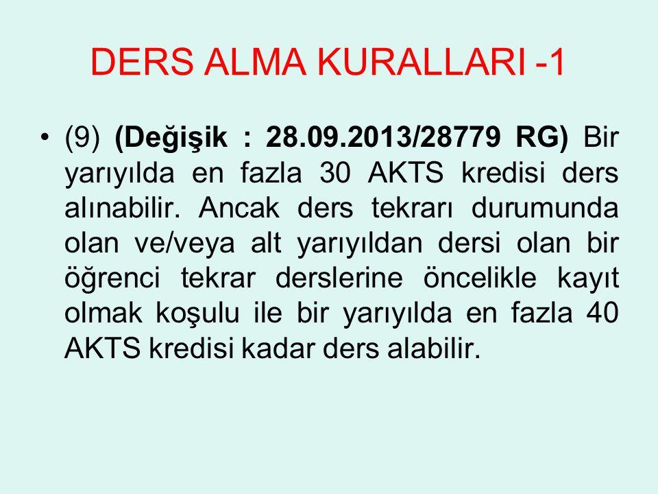 DERS ALMA KURALLARI -1 (9) (Değişik : 28.09.2013/28779 RG) Bir yarıyılda en fazla 30 AKTS kredisi ders alınabilir. Ancak ders tekrarı durumunda olan v