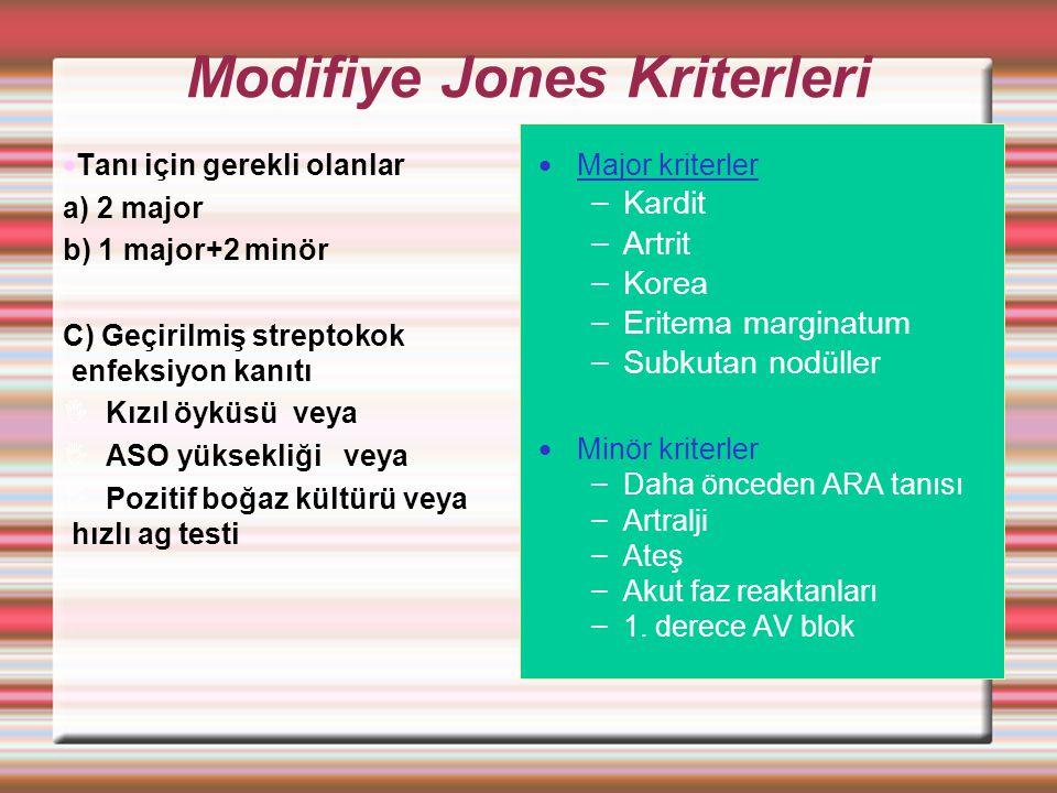 Modifiye Jones Kriterleri Tanı için gerekli olanlar a) 2 major b) 1 major+2 minör C) Geçirilmiş streptokok enfeksiyon kanıtı  Kızıl öyküsü veya  ASO yüksekliği veya  Pozitif boğaz kültürü veya hızlı ag testi Major kriterler – Kardit – Artrit – Korea – Eritema marginatum – Subkutan nodüller Minör kriterler – Daha önceden ARA tanısı – Artralji – Ateş – Akut faz reaktanları – 1.