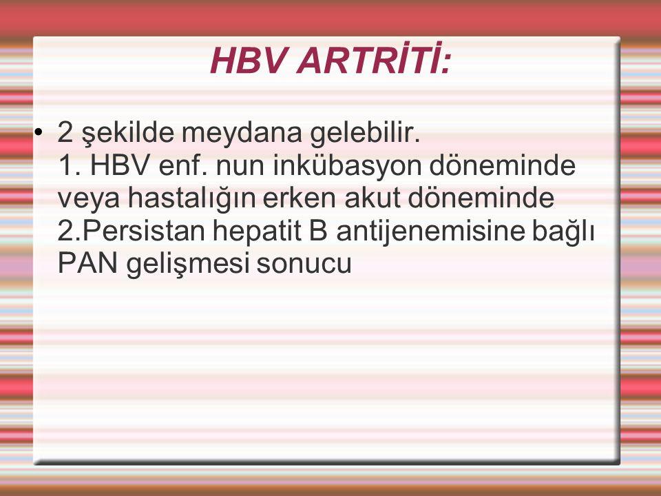 HBV ARTRİTİ: 2 şekilde meydana gelebilir.1. HBV enf.