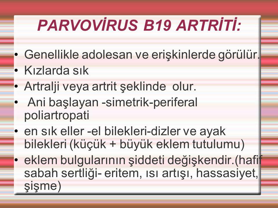 PARVOVİRUS B19 ARTRİTİ: Genellikle adolesan ve erişkinlerde görülür.