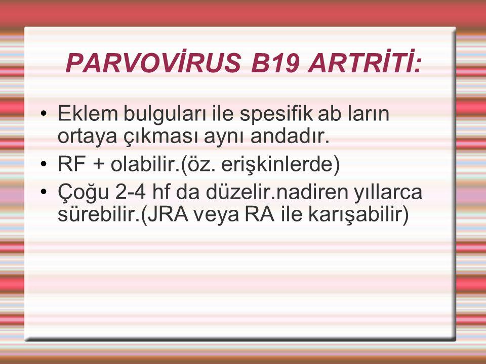 PARVOVİRUS B19 ARTRİTİ: Eklem bulguları ile spesifik ab ların ortaya çıkması aynı andadır.