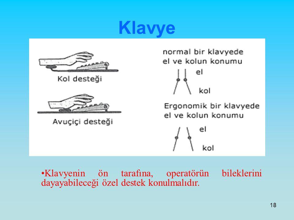 18 Klavye Klavyenin ön tarafına, operatörün bileklerini dayayabileceği özel destek konulmalıdır.