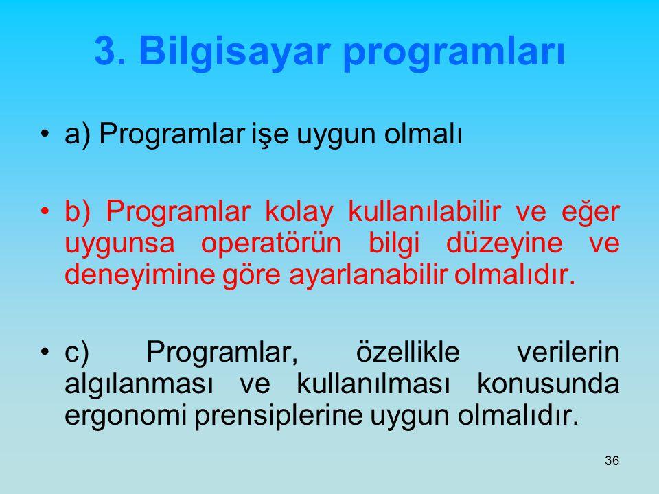 36 3. Bilgisayar programları a) Programlar işe uygun olmalı b) Programlar kolay kullanılabilir ve eğer uygunsa operatörün bilgi düzeyine ve deneyimine