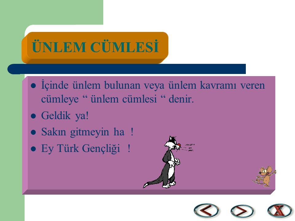 """ÜNLEM CÜMLESİ İçinde ünlem bulunan veya ünlem kavramı veren cümleye """" ünlem cümlesi """" denir. Geldik ya! Sakın gitmeyin ha ! Ey Türk Gençliği !"""
