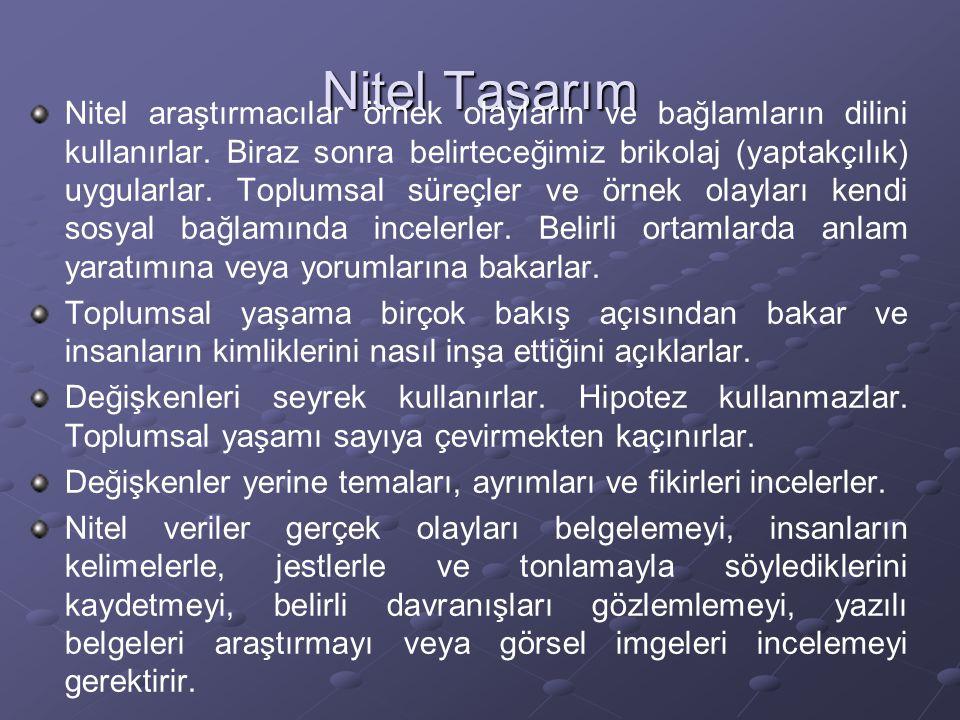 Nitel Tasarım Nitel araştırmacılar örnek olayların ve bağlamların dilini kullanırlar. Biraz sonra belirteceğimiz brikolaj (yaptakçılık) uygularlar. To