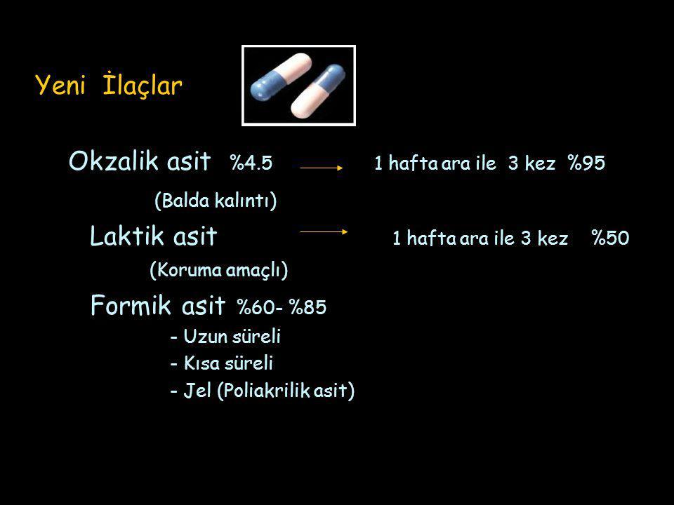 Yeni İlaçlar Okzalik asit %4.5 1 hafta ara ile 3 kez %95 (Balda kalıntı) Laktik asit 1 hafta ara ile 3 kez %50 (Koruma amaçlı) Formik asit %60- %85 - Uzun süreli - Kısa süreli - Jel (Poliakrilik asit)