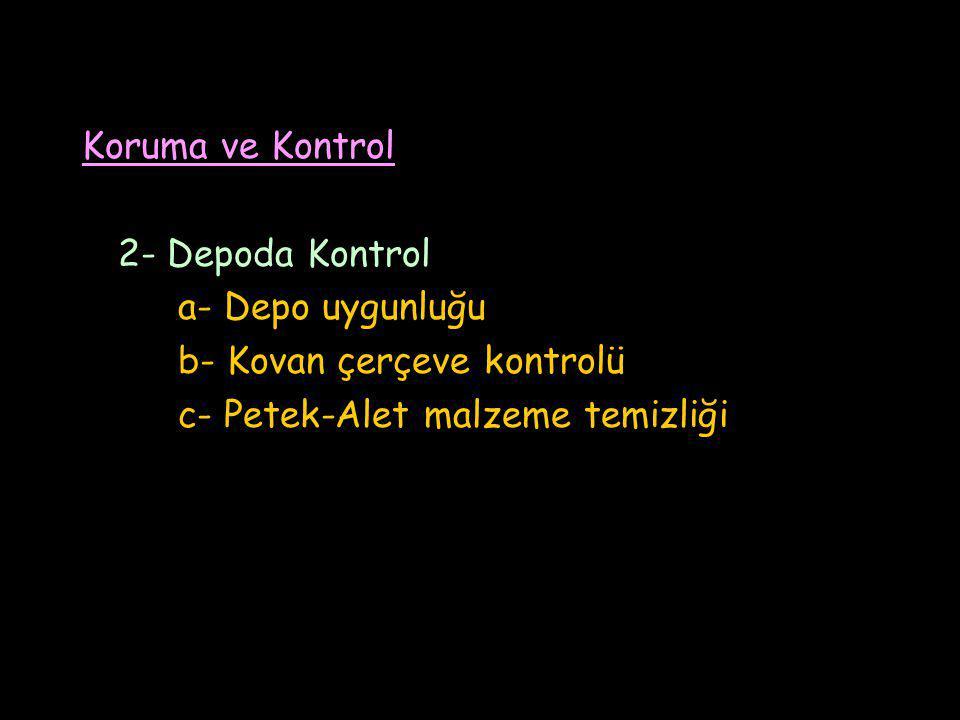 Koruma ve Kontrol 2- Depoda Kontrol a- Depo uygunluğu b- Kovan çerçeve kontrolü c- Petek-Alet malzeme temizliği