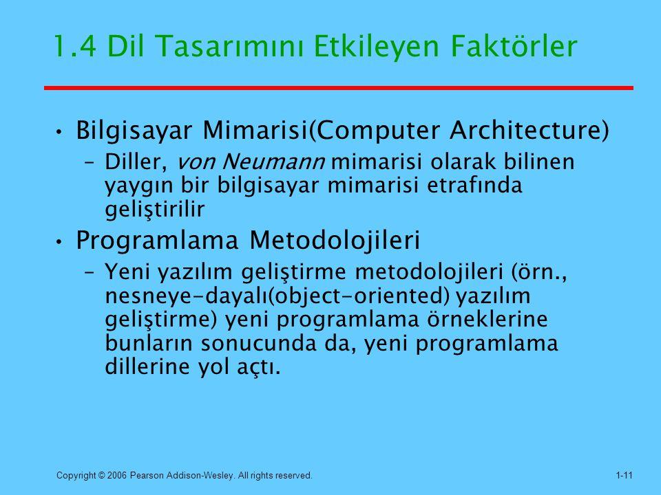 Copyright © 2006 Pearson Addison-Wesley. All rights reserved.1-11 1.4 Dil Tasarımını Etkileyen Faktörler Bilgisayar Mimarisi(Computer Architecture) –D