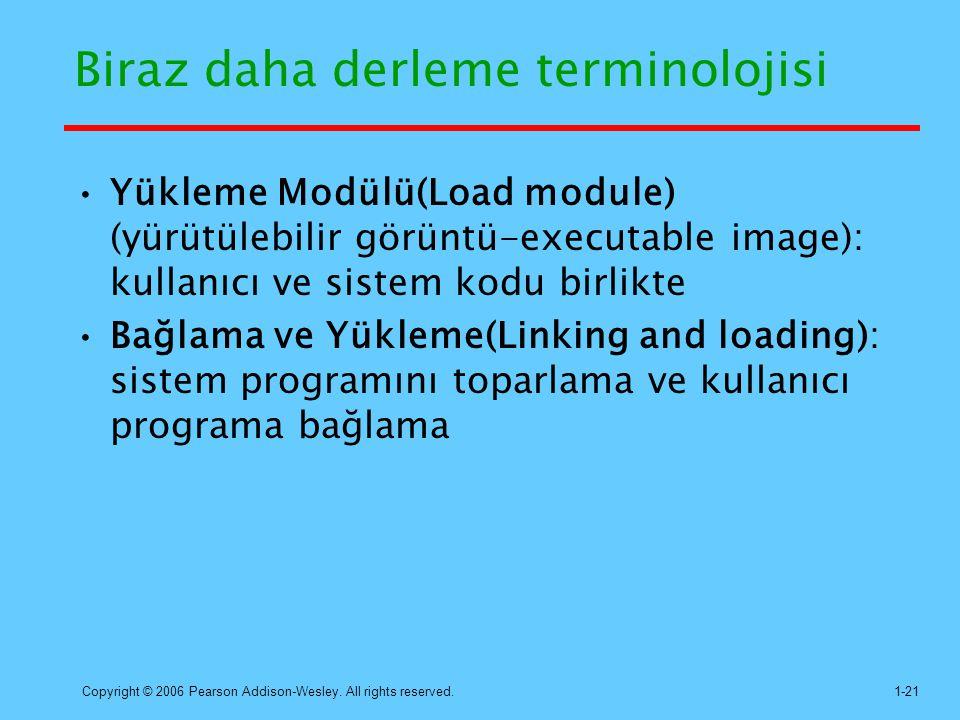 Copyright © 2006 Pearson Addison-Wesley. All rights reserved.1-21 Biraz daha derleme terminolojisi Yükleme Modülü(Load module) (yürütülebilir görüntü-
