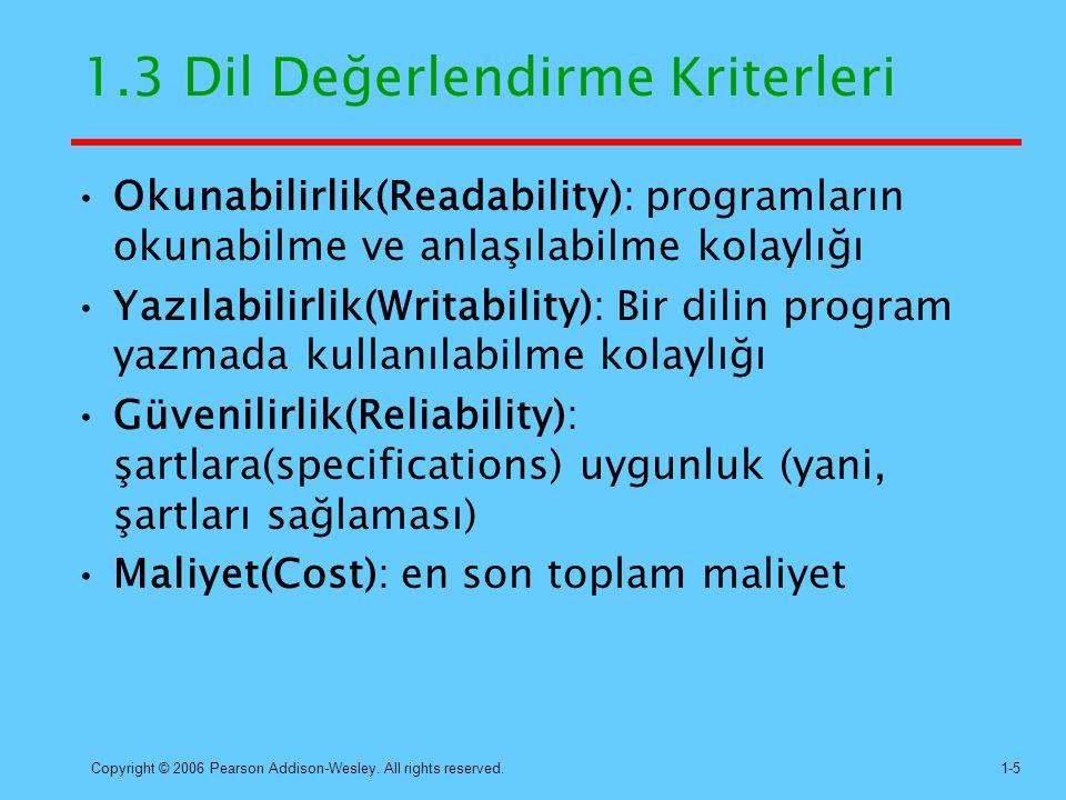 Copyright © 2006 Pearson Addison-Wesley. All rights reserved.1-5 1.3 Dil Değerlendirme Kriterleri Okunabilirlik(Readability): programların okunabilme