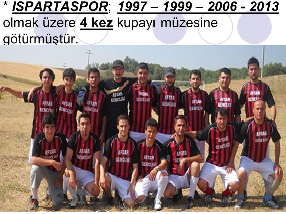 * ISPARTASPOR; 1997 – 1999 – 2006 - 2013 olmak üzere 4 kez kupayı müzesine götürmüştür.