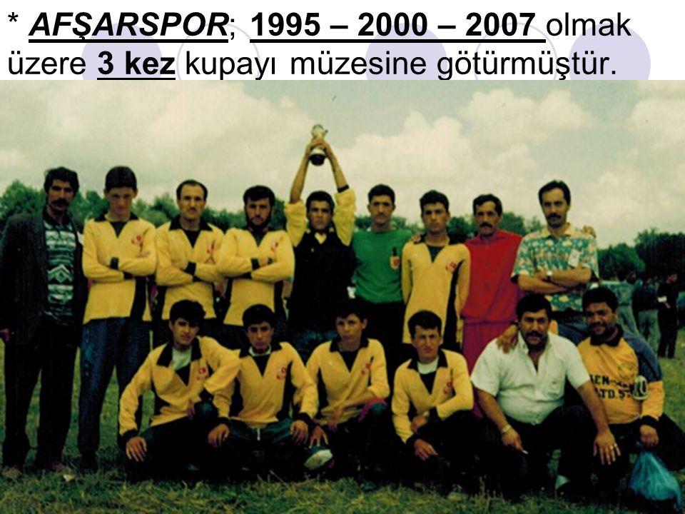 * AFŞARSPOR; 1995 – 2000 – 2007 olmak üzere 3 kez kupayı müzesine götürmüştür.