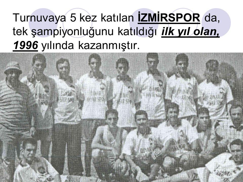 Turnuvaya 5 kez katılan İZMİRSPOR da, tek şampiyonluğunu katıldığı ilk yıl olan, 1996 yılında kazanmıştır.