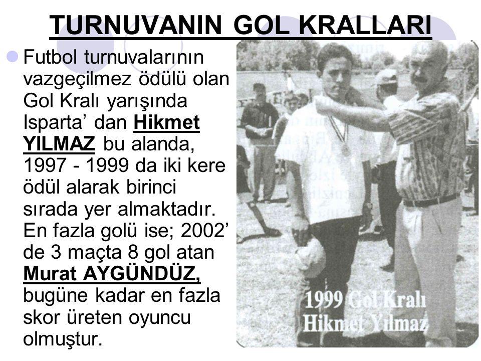 TURNUVANIN GOL KRALLARI Futbol turnuvalarının vazgeçilmez ödülü olan Gol Kralı yarışında Isparta' dan Hikmet YILMAZ bu alanda, 1997 - 1999 da iki kere ödül alarak birinci sırada yer almaktadır.
