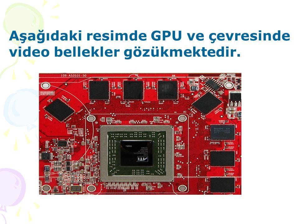 Aşağıdaki resimde GPU ve çevresinde video bellekler gözükmektedir.