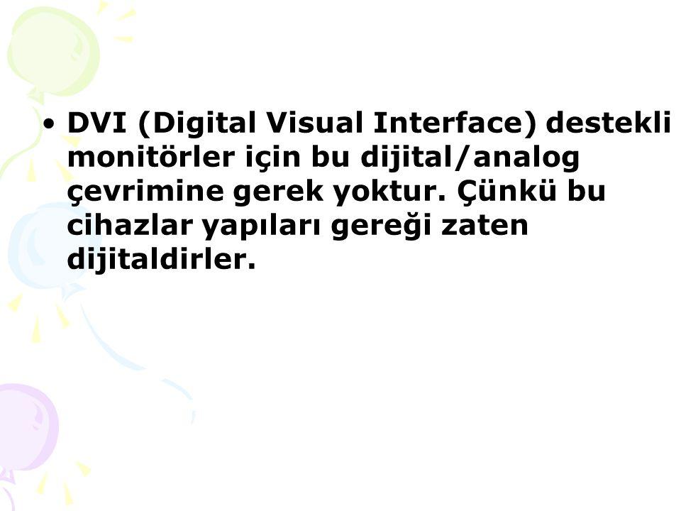 DVI (Digital Visual Interface) destekli monitörler için bu dijital/analog çevrimine gerek yoktur.