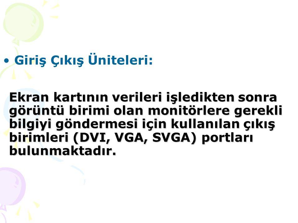 Giriş Çıkış Üniteleri: Ekran kartının verileri işledikten sonra görüntü birimi olan monitörlere gerekli bilgiyi göndermesi için kullanılan çıkış birimleri (DVI, VGA, SVGA) portları bulunmaktadır.