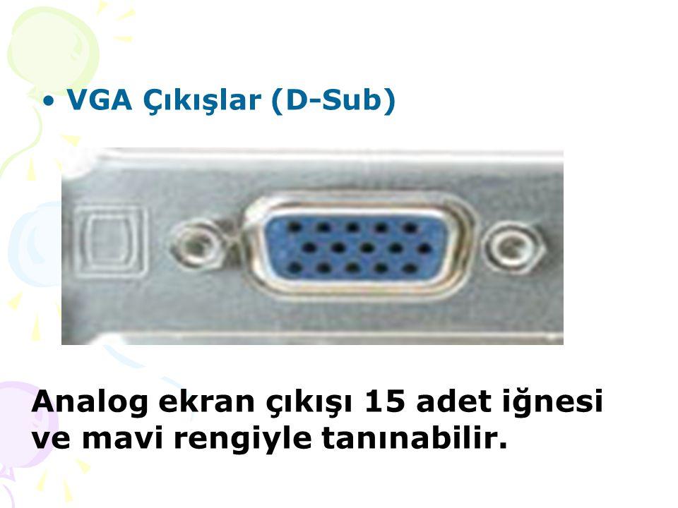 VGA Çıkışlar (D-Sub) Analog ekran çıkışı 15 adet iğnesi ve mavi rengiyle tanınabilir.