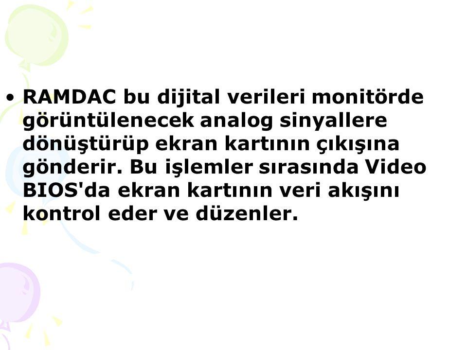 RAMDAC bu dijital verileri monitörde görüntülenecek analog sinyallere dönüştürüp ekran kartının çıkışına gönderir.