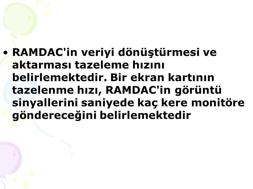 RAMDAC in veriyi dönüştürmesi ve aktarması tazeleme hızını belirlemektedir.