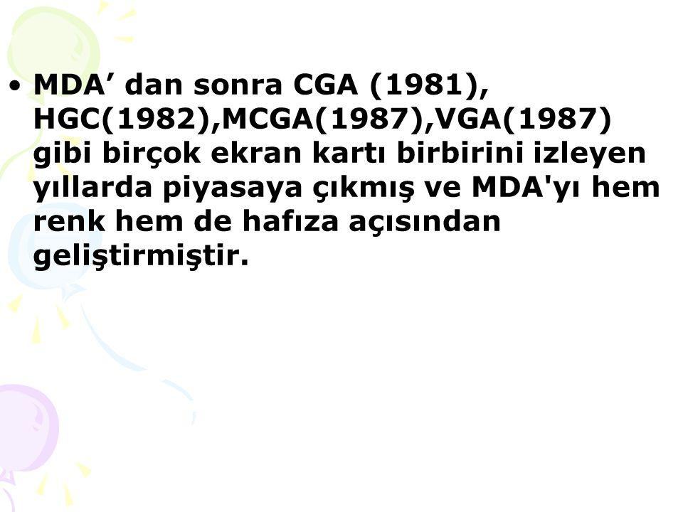 MDA' dan sonra CGA (1981), HGC(1982),MCGA(1987),VGA(1987) gibi birçok ekran kartı birbirini izleyen yıllarda piyasaya çıkmış ve MDA yı hem renk hem de hafıza açısından geliştirmiştir.