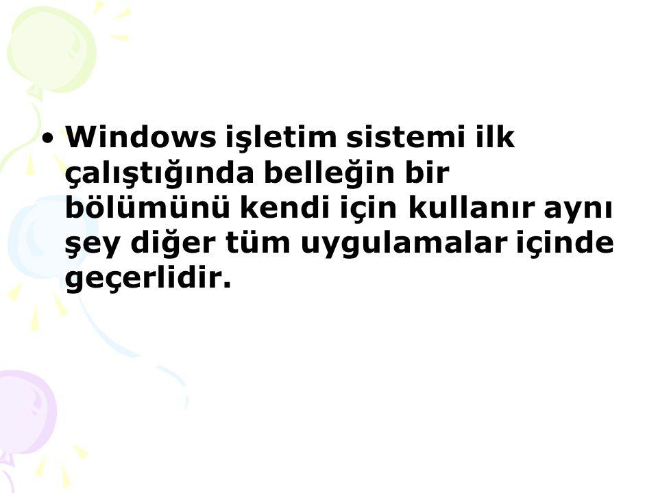 Windows işletim sistemi ilk çalıştığında belleğin bir bölümünü kendi için kullanır aynı şey diğer tüm uygulamalar içinde geçerlidir.