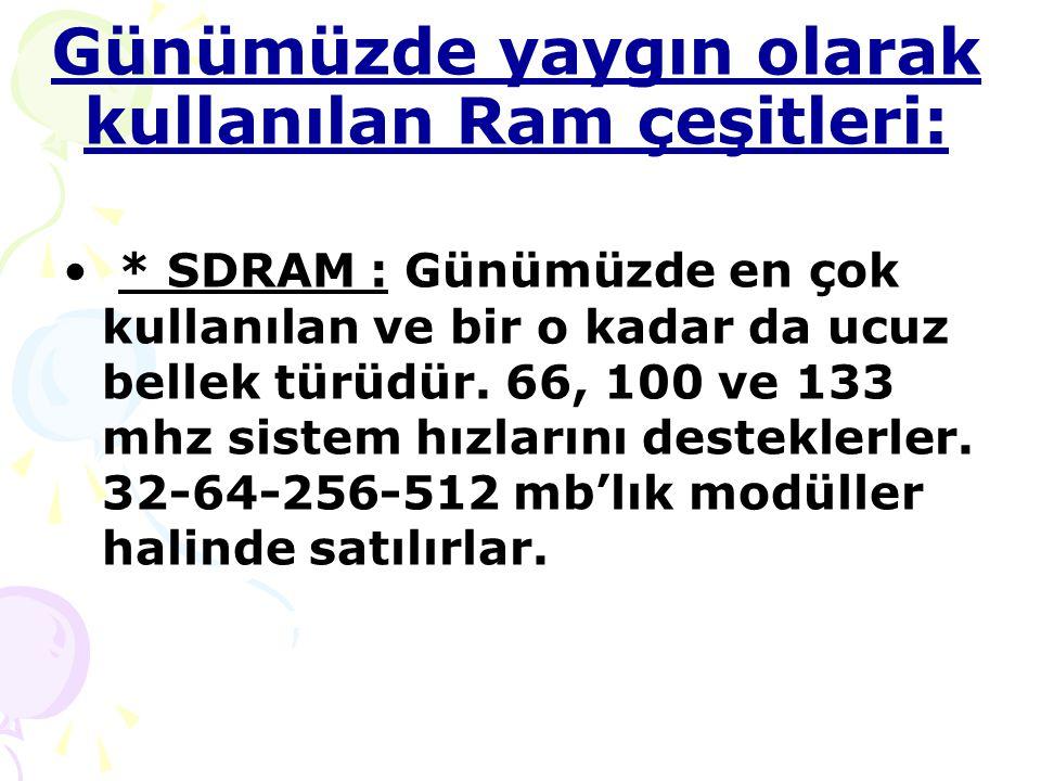 Günümüzde yaygın olarak kullanılan Ram çeşitleri: * SDRAM : Günümüzde en çok kullanılan ve bir o kadar da ucuz bellek türüdür.