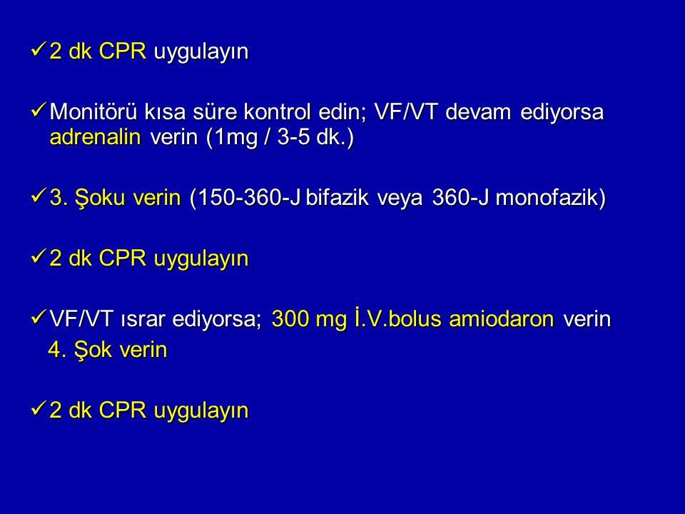 2 dk CPR uygulayın 2 dk CPR uygulayın Monitörü kısa süre kontrol edin; VF/VT devam ediyorsa adrenalin verin (1mg / 3-5 dk.) Monitörü kısa süre kontrol