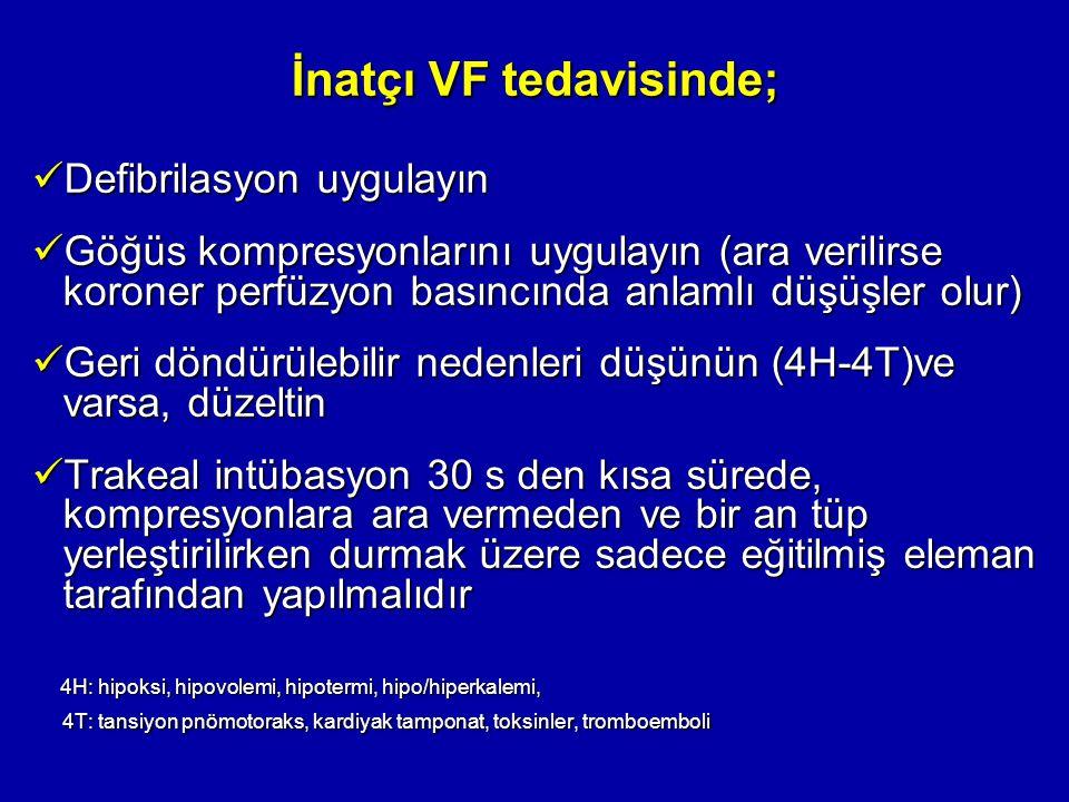 İnatçı VF tedavisinde; Defibrilasyon uygulayın Defibrilasyon uygulayın Göğüs kompresyonlarını uygulayın (ara verilirse koroner perfüzyon basıncında an