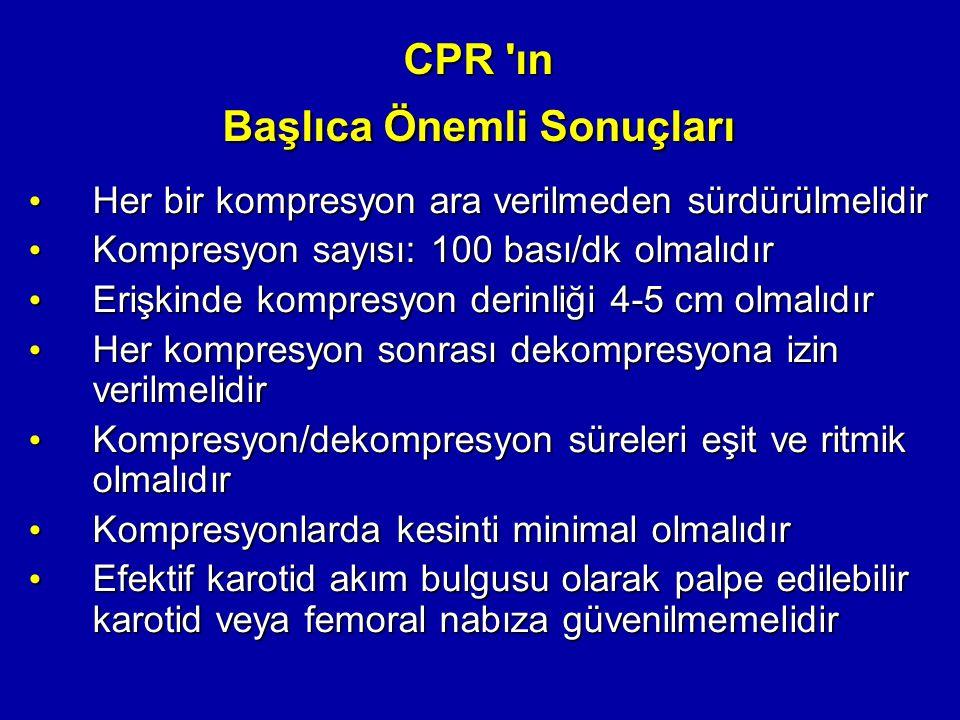 CPR 'ın Başlıca Önemli Sonuçları Her bir kompresyon ara verilmeden sürdürülmelidir Her bir kompresyon ara verilmeden sürdürülmelidir Kompresyon sayısı