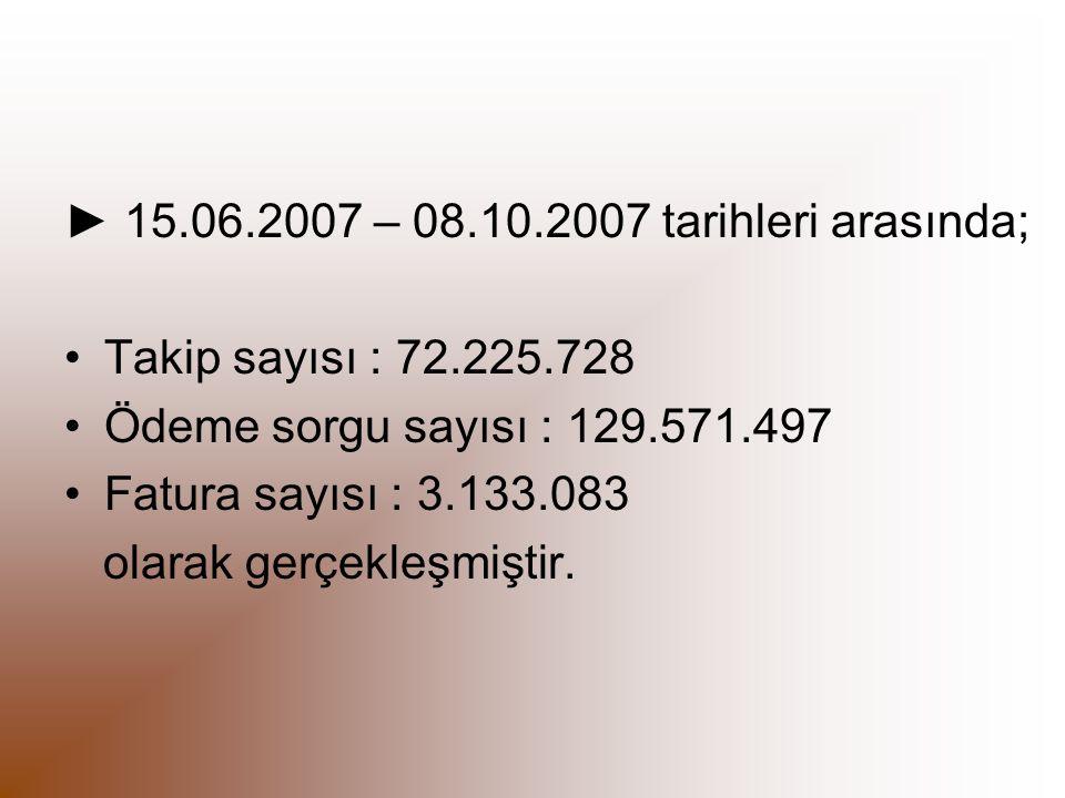 ► 15.06.2007 – 08.10.2007 tarihleri arasında; Takip sayısı : 72.225.728 Ödeme sorgu sayısı : 129.571.497 Fatura sayısı : 3.133.083 olarak gerçekleşmiş