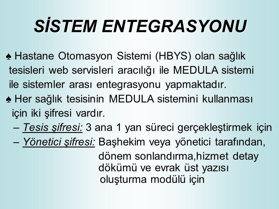 SİSTEM ENTEGRASYONU ♠ Hastane Otomasyon Sistemi (HBYS) olan sağlık tesisleri web servisleri aracılığı ile MEDULA sistemi ile sistemler arası entegrasy
