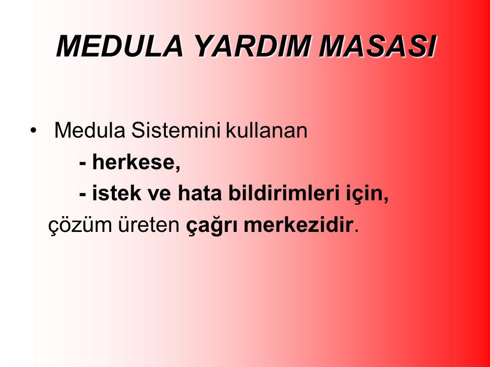 MEDULA YARDIM MASASI Medula Sistemini kullanan - herkese, - istek ve hata bildirimleri için, çözüm üreten çağrı merkezidir.