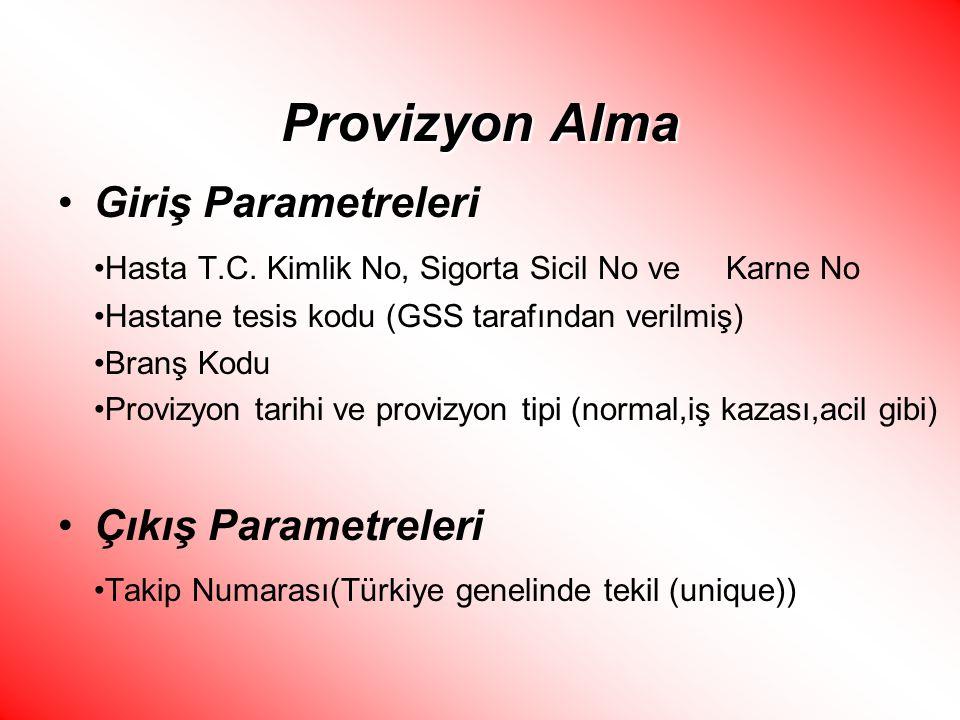 Provizyon Alma Giriş Parametreleri Hasta T.C. Kimlik No, Sigorta Sicil No ve Karne No Hastane tesis kodu (GSS tarafından verilmiş) Branş Kodu Provizyo
