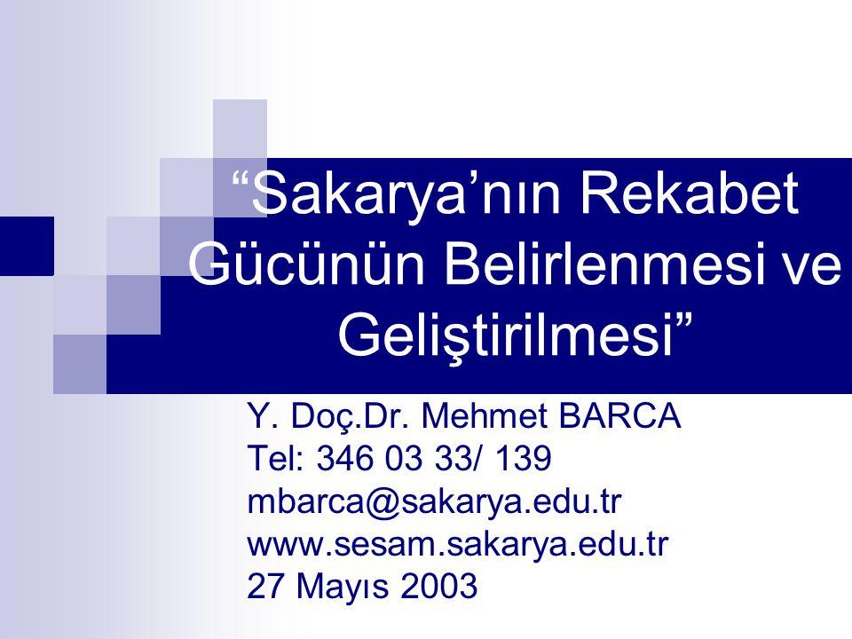 """""""Sakarya'nın Rekabet Gücünün Belirlenmesi ve Geliştirilmesi"""" Y. Doç.Dr. Mehmet BARCA Tel: 346 03 33/ 139 mbarca@sakarya.edu.tr www.sesam.sakarya.edu.t"""