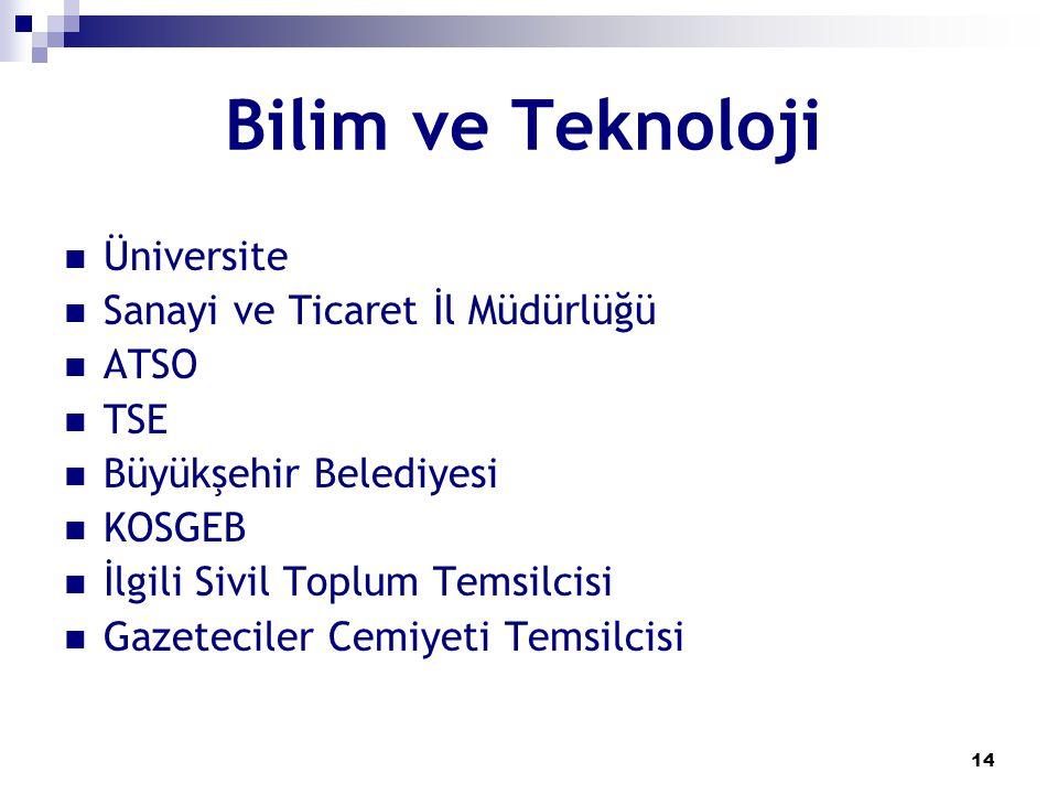 14 Bilim ve Teknoloji Üniversite Sanayi ve Ticaret İl Müdürlüğü ATSO TSE Büyükşehir Belediyesi KOSGEB İlgili Sivil Toplum Temsilcisi Gazeteciler Cemiy