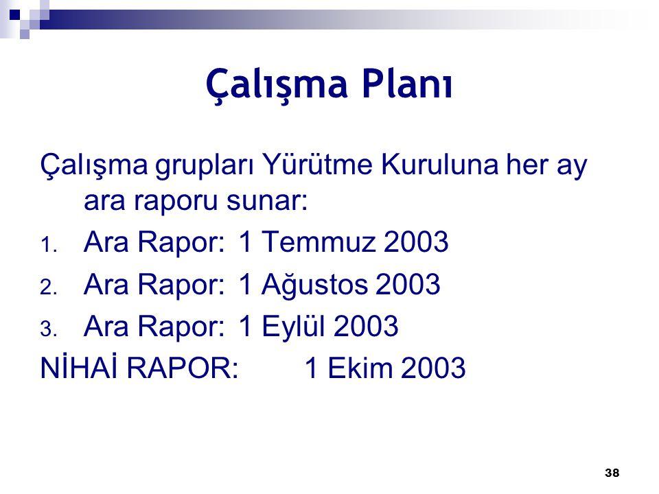 38 Çalışma Planı Çalışma grupları Yürütme Kuruluna her ay ara raporu sunar: 1. Ara Rapor:1 Temmuz 2003 2. Ara Rapor:1 Ağustos 2003 3. Ara Rapor: 1 Eyl