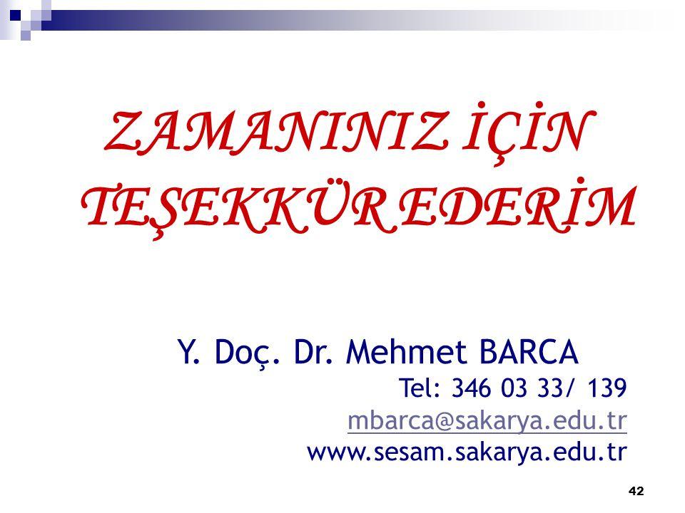 42 ZAMANINIZ İÇİN TEŞEKKÜR EDERİM Y. Doç. Dr. Mehmet BARCA Tel: 346 03 33/ 139 mbarca@sakarya.edu.tr www.sesam.sakarya.edu.tr