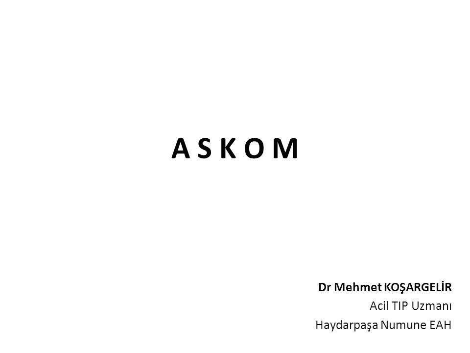 A S K O M İl Acil Sağlık Hizmetleri Koordinasyon Komisyonu (ASKOM); 11.05.2000 tarih ve 24046 sayılı Resmi Gazete ve değişiklik içeren 24.03.2004 tarih ve 25412 sayılı Resmi Gazetede yayınlanan Sağlık Bakanlığı Acil Sağlık Hizmetleri Yönetmeliği nin 4.