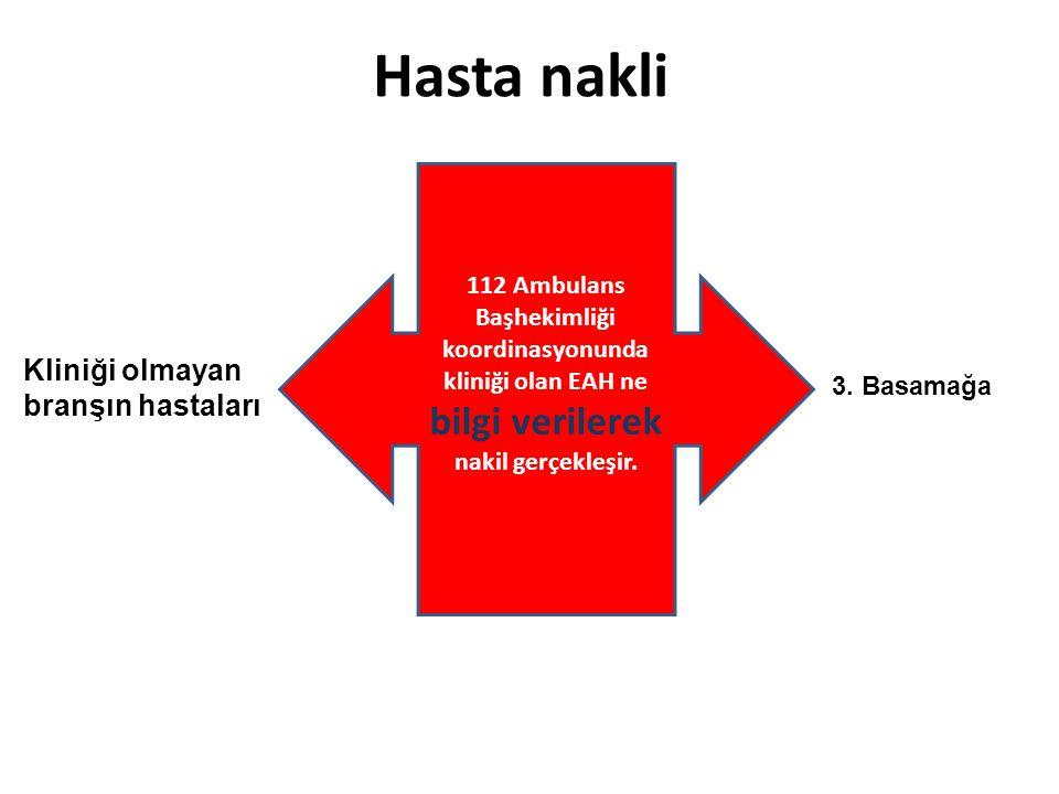 Hasta nakli 112 Ambulans Başhekimliği koordinasyonunda kliniği olan EAH ne bilgi verilerek nakil gerçekleşir. Kliniği olmayan branşın hastaları 3. Bas
