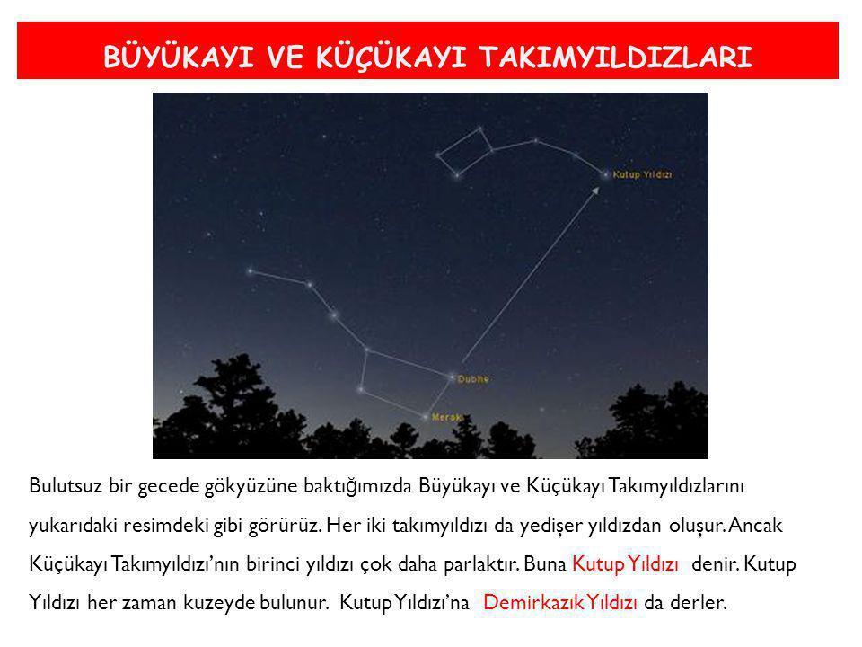 BÜYÜKAYI VE KÜÇÜKAYI TAKIMYILDIZLARI Bulutsuz bir gecede gökyüzüne baktı ğ ımızda Büyükayı ve Küçükayı Takımyıldızlarını yukarıdaki resimdeki gibi gör
