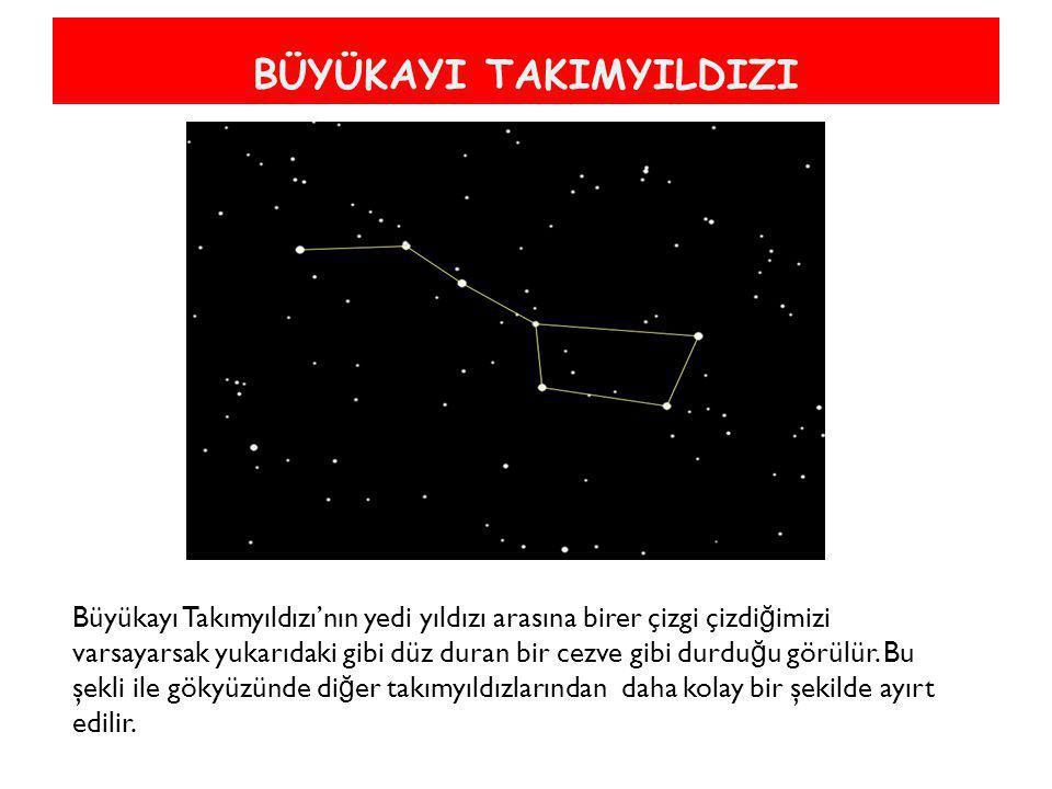 BÜYÜKAYI TAKIMYILDIZI Büyükayı Takımyıldızı'nın yedi yıldızı arasına birer çizgi çizdi ğ imizi varsayarsak yukarıdaki gibi düz duran bir cezve gibi du