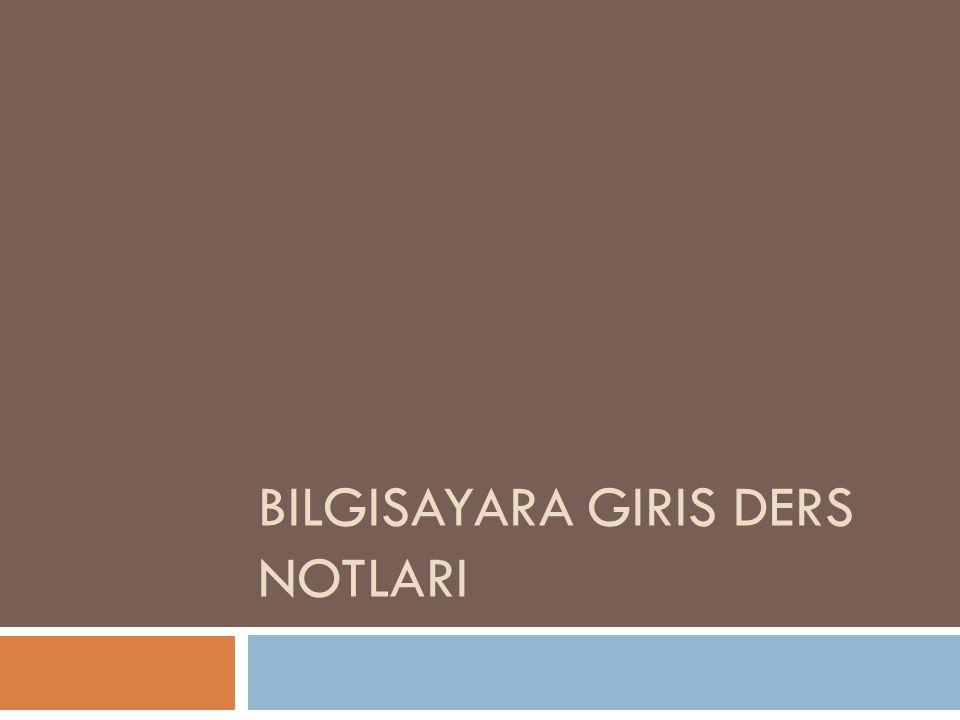 BILGISAYARA GIRIS DERS NOTLARI