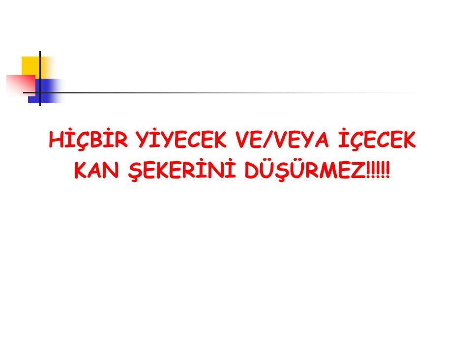 HİÇBİR YİYECEK VE/VEYA İÇECEK KAN ŞEKERİNİ DÜŞÜRMEZ!!!!!